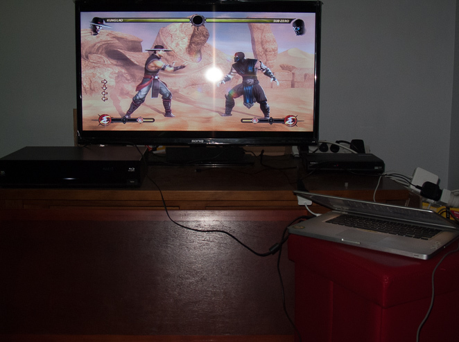 Mortal Kombat Komplete Edition on a TV