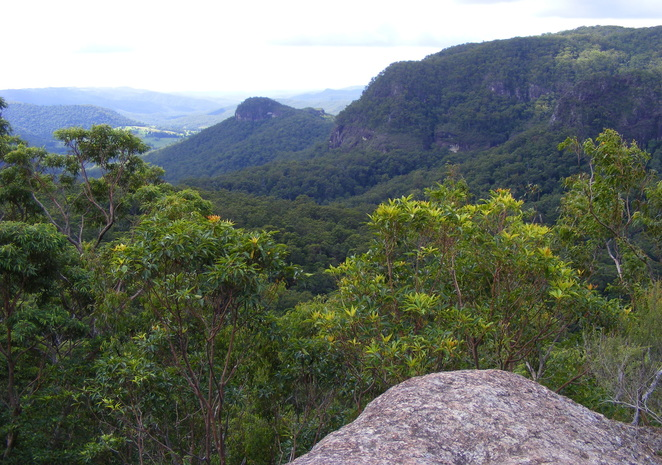 The Yangahla Lookout is a rock jutting out giving views of the valley below