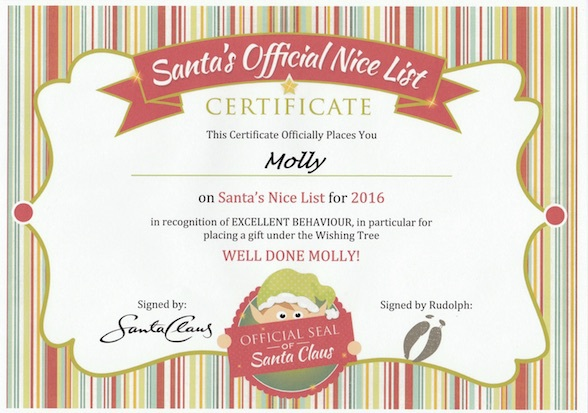 Santas little elves personalised letters from santa brisbane in addition to the personalised letters santas little elves are also creating personalised nice list certificates which officially place your child on spiritdancerdesigns Image collections