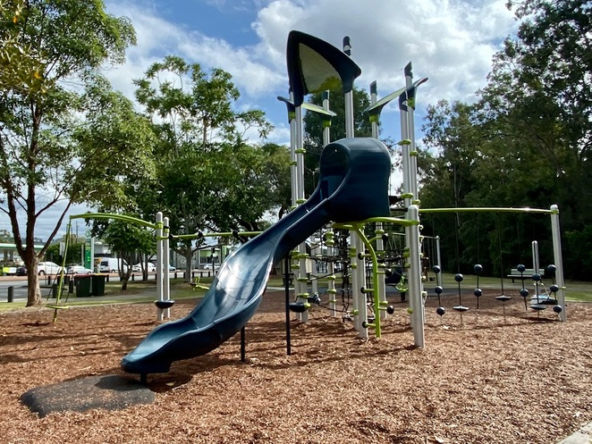 The centrepiece of Bob Cassimaty Park is this incredible playground