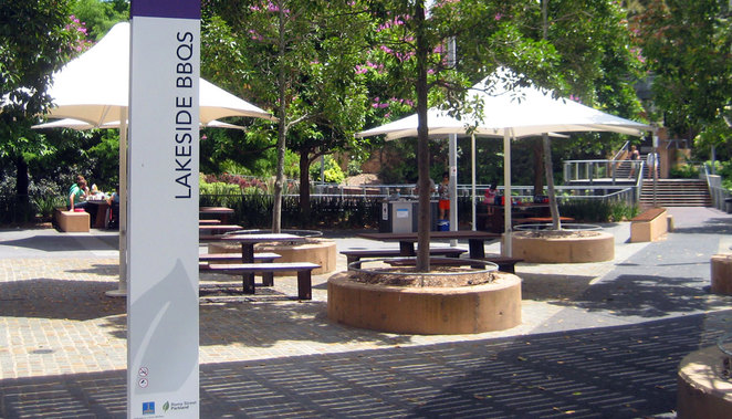 The lakeside Barbecue Area at the Roma Street Parklands