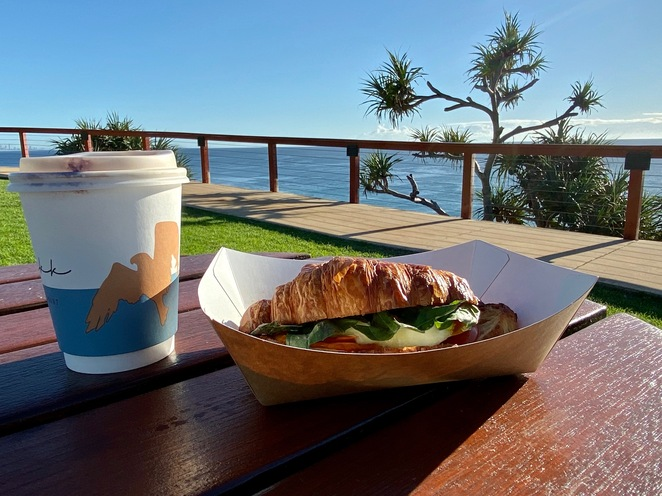 Enjoying Cafe D'Bah coffee and brekky while watching whales on their migration below