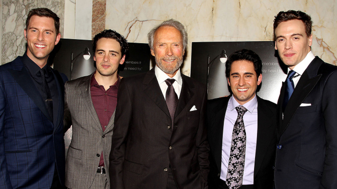 Clint Eastwood and cast of Jersey Boys