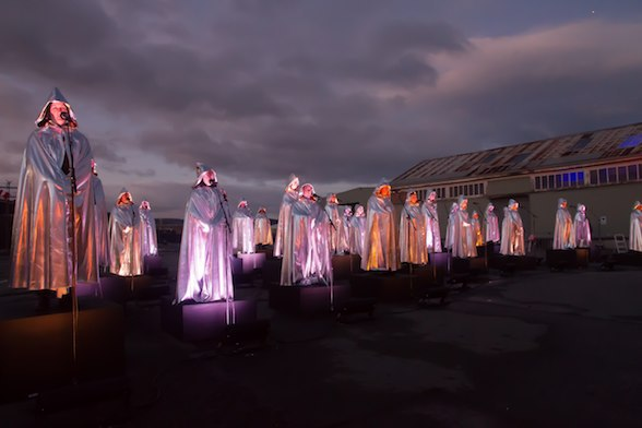A GALAXY OF SUNS - (Michaela Gleave, Warren Armstrong & Amanda Cole) Performance from Dark Mofo 2016. Photograph: Michaela Gleave, Courtesy of the Artist & Cementa