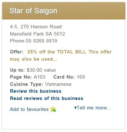 Star of Saigon, Entertainment Book, Adelaide