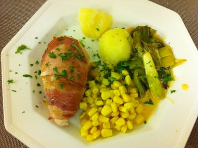 stuffed chicken, quick meal, meal in minutes, smoked cheese, pancetta