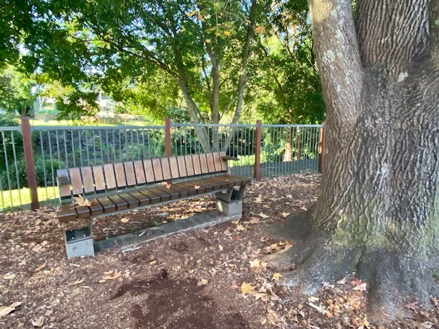 This family friendly playground provides shaded seating for parents and caregivers
