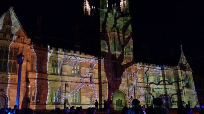 university of sydney, usyd, vivid, projection, artwork, aboriginal, indigenous, pattern, night