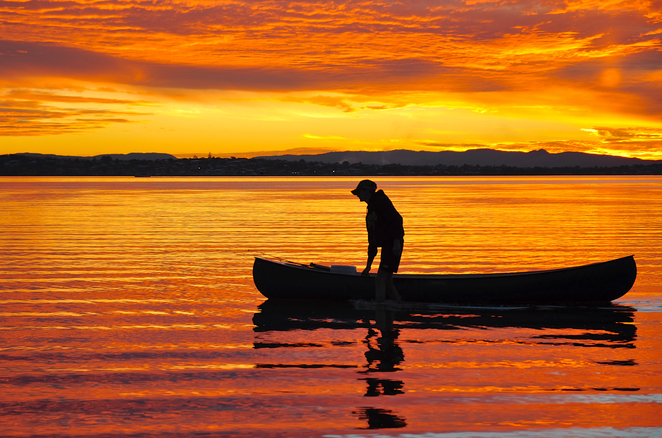 A canoeist ending the day at Wellington Point
