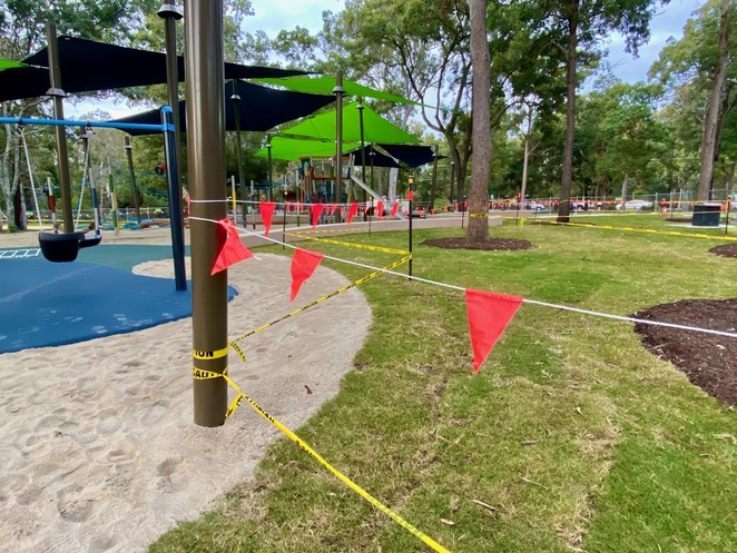 Early visitors to the new playground will find new turf still growing