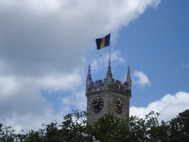 Barbadian Flag Flies in Bridgetown