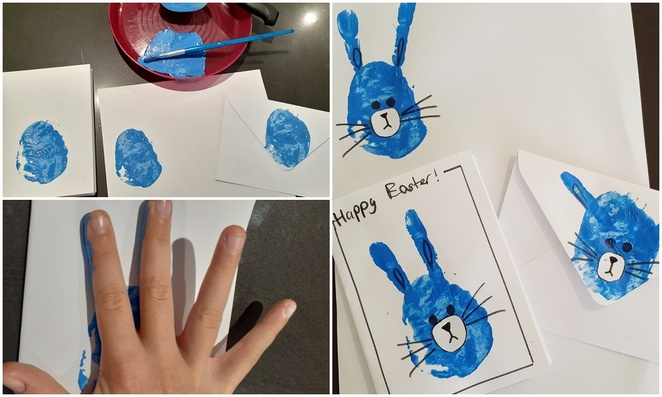 blue rabbits, potato stamp, cards, easter cards, easy crafts, kids crafts, easter crafts, australia, toddlers, painting,