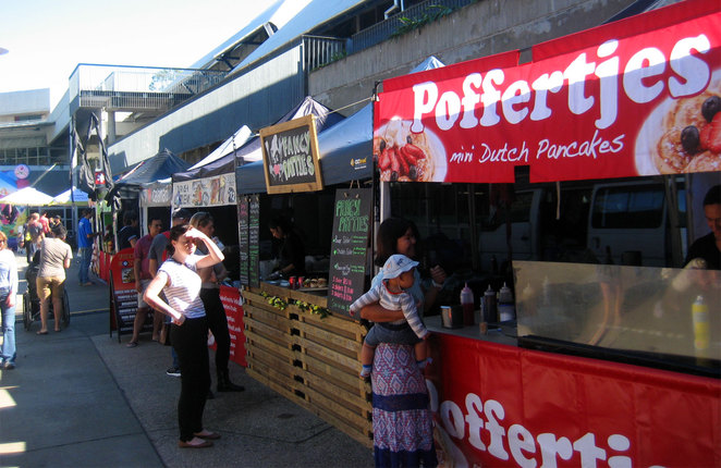Food stalls at the Carseldine Markets