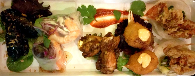 Mixed entree platter at Than Nuong Charcoal Vietnamese Restaurant