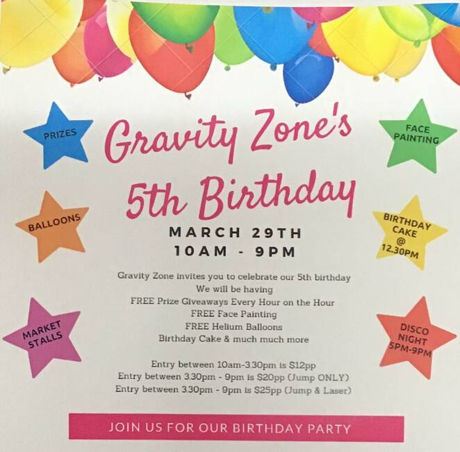 gravity zone 5th birthday