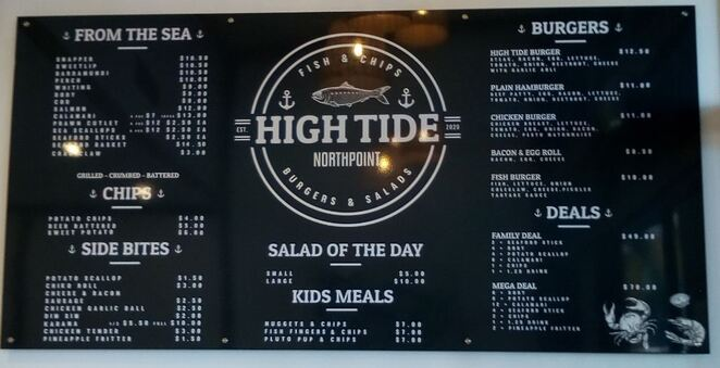 High Tide Fish Chips Northpoint menu Toowoomba
