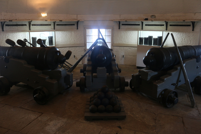 The three 8-inch muzzle loaders in the tower