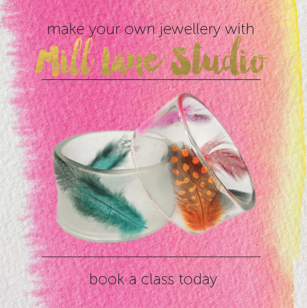 Mill Lane Studio, Mylene Hillam, resin jewellery workshop, resin workshop, how to make resin bangles