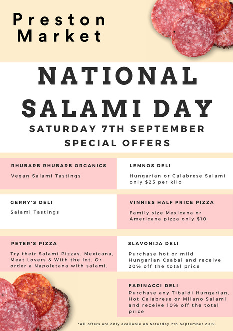 national salami day 2019, community event, fun things to do, preston market, free market event, salami making workshop, sausage making workshop, free tastings, special offers, salami making demonstration, vegan friendly options, one day only event, sara grazia, sausage queen, sausages made simple, author sara grazia, secrets in salami, rump to rafters, sausages made simple