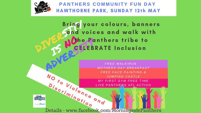 panthers respect fun day 2019, community event, fun things to do, hawthorne park, morningside panthers, councillor kara cook morningside ward, project health and fitness, crackerjack toys bulimba, morningside junior afc, my first gym hawthorne, terri butler mp, jack esplen oval, morningside panthers and bounce bistro, mothers day breakfast, bounce bistro, restaurant, community walk, fun run, celebrate inclusion and diversity, say no to fiolence, say no to discrimination, indigenous design inclusion jumpers, football action, free fun activities, family friendly, panthers afl action, my first gym fre play time, face painting, jumping castle, fun for kids