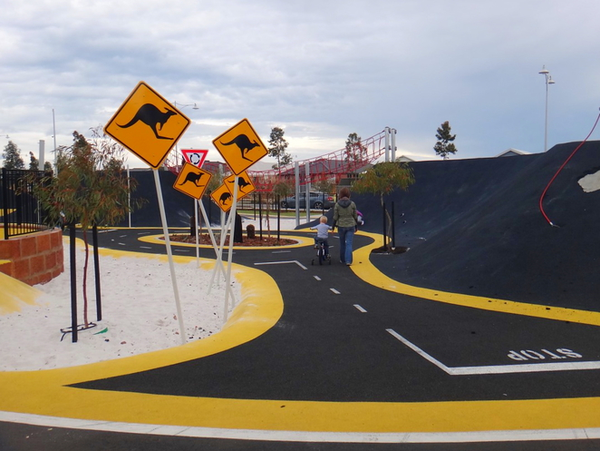 pitstop playground, race track, banksia grove, playground, road signs