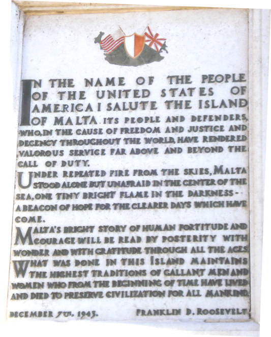 Plaque in Valletta signed by FDR