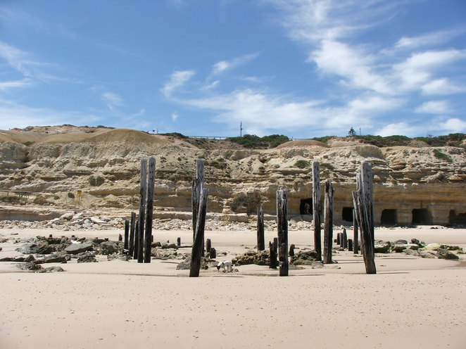 Port Willunga caves, cliffs, sandy cliffs, caves, Aldinga, shelter, sea shelter, South Australia, jetty ruins, pylons of lost jetty