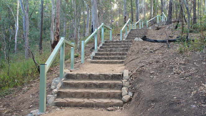 Some of the many steps in the Spotted Gum Trail