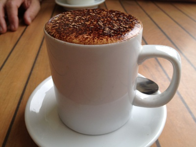 The cappuccino in a mug