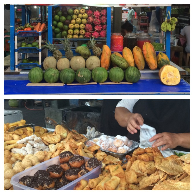 Tropical fruit, pastries and cakes.