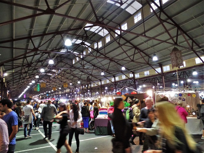 winter night market at queen victoria market melbourne