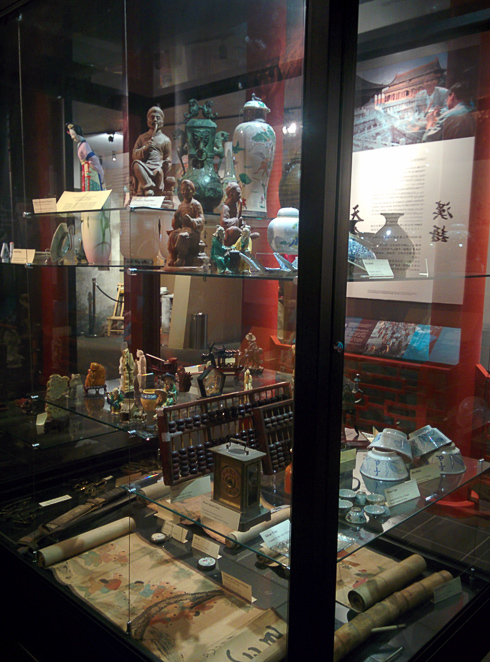 Chinese artefacts in a display cabinet