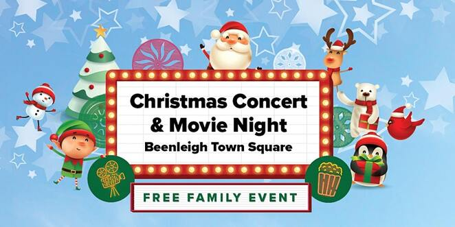 christmas convert and movie night at beenleigh town square, logan city council, free christmas themed event, family fun, step right dance, elliott the littlest reindeer, retro games, face painting, children's christmas show, dress ups, christmas theme, food trucks