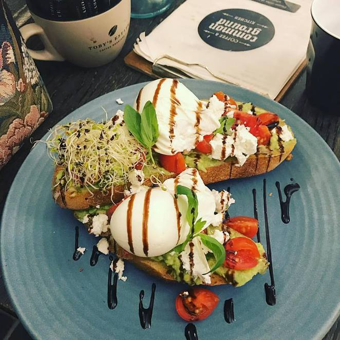 common ground, kitchen, hurstville, westfield, brekkie bruschetta, avocado, sourdough, feta, poached, eggs