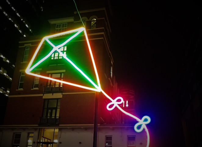 neon kite at qv melbourne