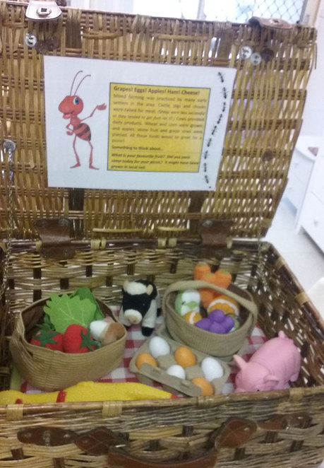 One of the baskets in the Picnic Basket Trail. Photo Courtesy of Shiona Herbert from Ignite Your Audience. The Old-Fashioned Railway Picnic Day at the South West Rail and Heritage Centre