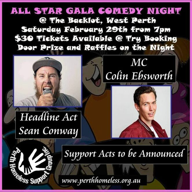 Perth Homeless Support Group Comedy Gala flyer