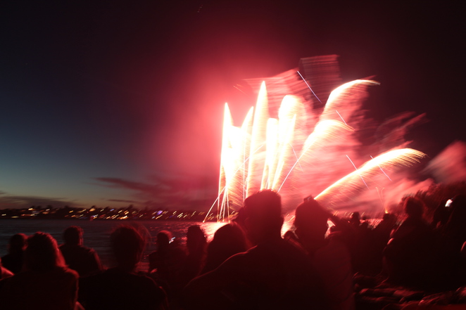 The fireworks lighting up the audience