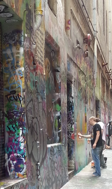 Artists at work in Union Lane