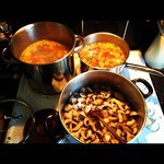Making three different types of soup at the same time!