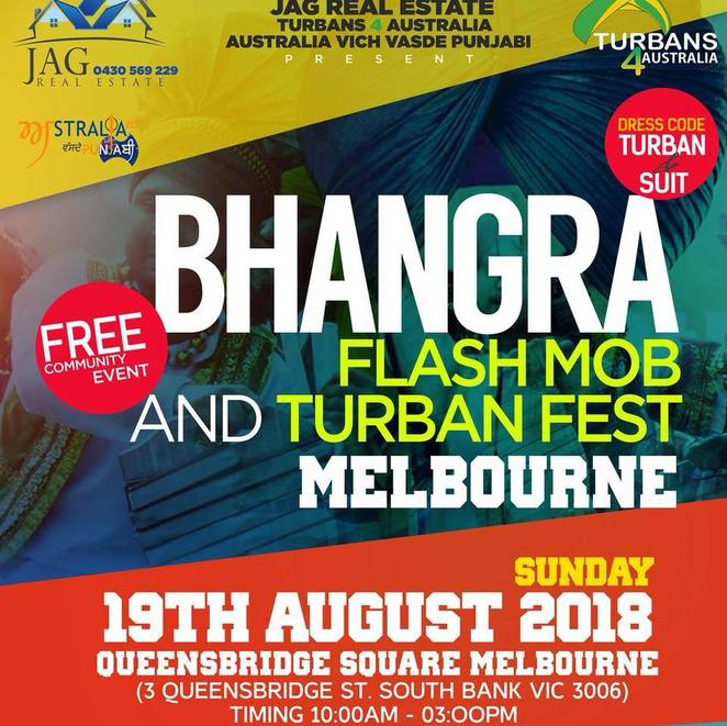 Bhangra Flash Mob and turban festival 2018, community event, cultural event, fun things to do, entertainment, dancing, queensbridge, southbank, jag real estage, sat sri akal, multicultural, bhangra dance, volunteers