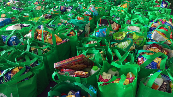 Food bags ready to be sent out to need families