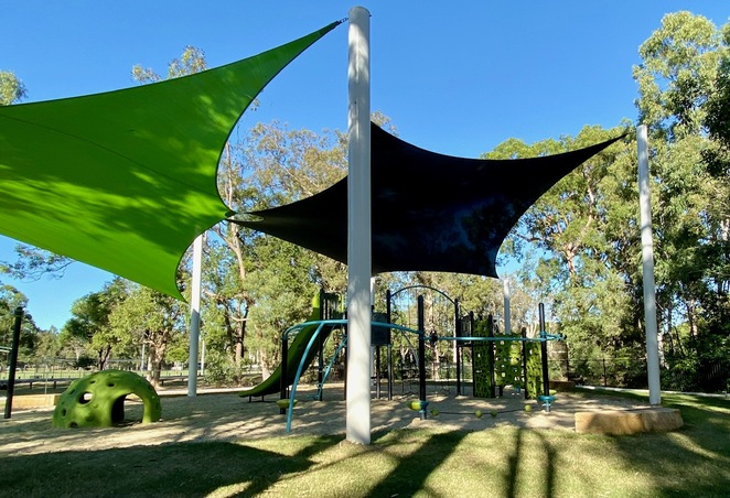 The new, sun smart playground at Cascade Gardens in Victoria Point