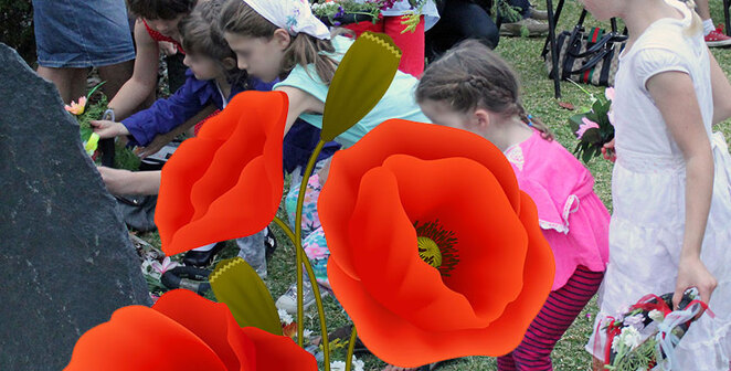 ANZAC Cottage Remembrance Day Sunset Service, Historic Memorial Cottage, Children making and placing poppies