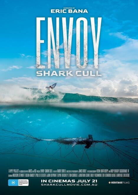 envoy shsark cull documentary review, community event, fun things to do, cinema, documentary about sharks, narrated by eric bana, environmental, entertainment, performing arts, the natural world, shark nets in queensland, shark nets in new south wales, save the sharks