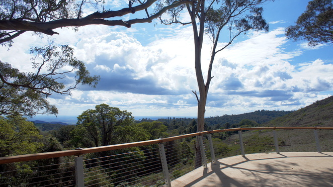 Fishers lookout has a covered area with lots of seating to enjoy the view