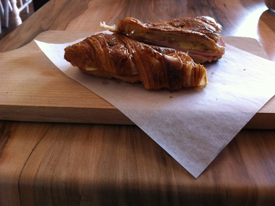 The cheese-and-ham croissants were well-presented and warmly served at Unwritten Bookshop Cafe