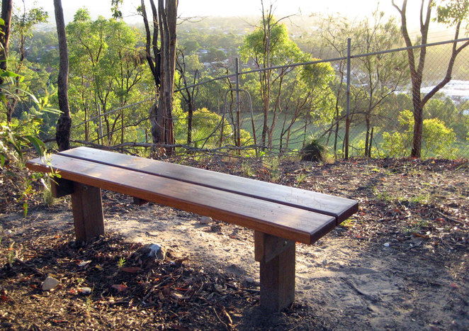 Bench at the top of Milne Hill, a great place to relax and enjoy the view
