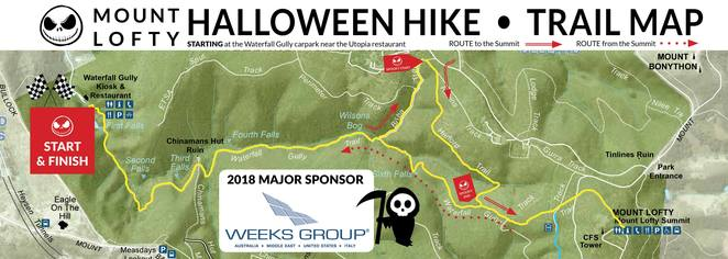 mt lofty halloween hike 2018, fundraiser for parkinsons SA, community event, fun things to do, charity, halloween, fancy dress, halloween costumes, prizes and giveaways, utopia, waterfall gully, family friendly, waterfall gully, mt lofty summit trail, utopia restaurant, scary stories, scary sights, fright night