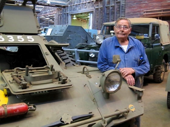 Bill with some of the army tanks at the Nungarin Heritage Machinery and Army Museum.